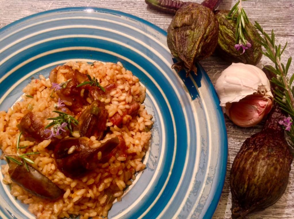 arroz con costillas de ibérico y berenjenas de almagro
