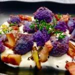 brocoili con ajetes panceta y salsa de arzua
