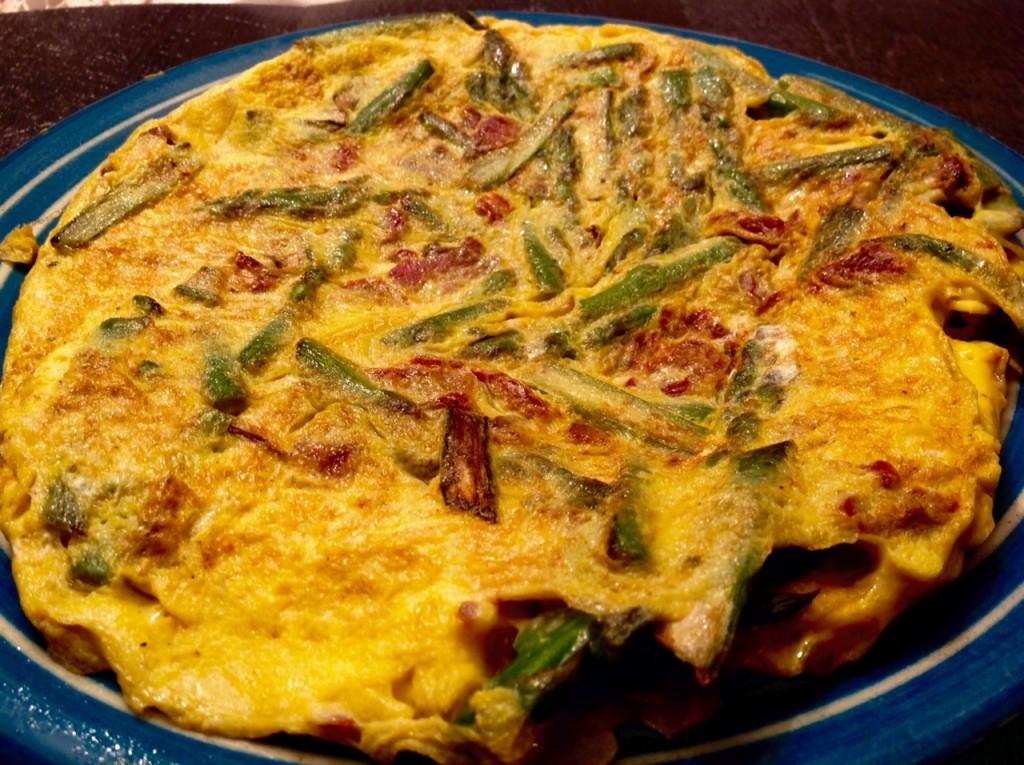 tortilla esparrago bacon tomate deshidratado