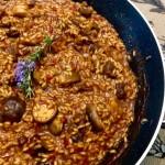 arroz de setas y cabra muy bien