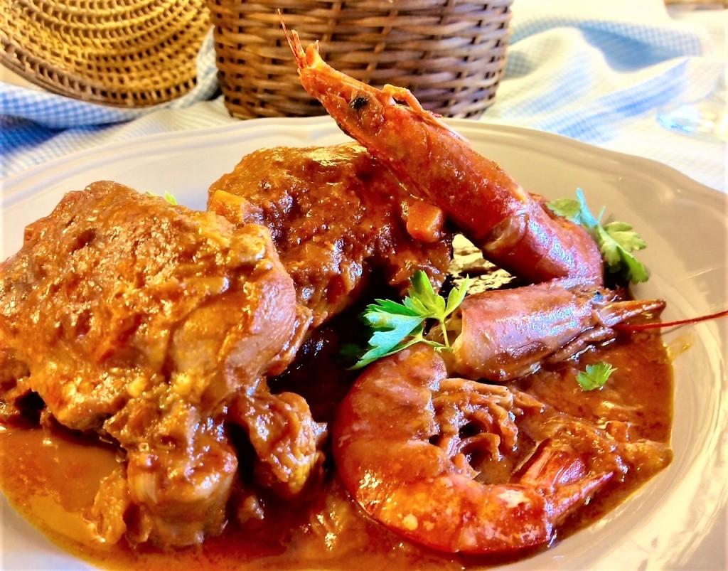 pollo con gambas rustico