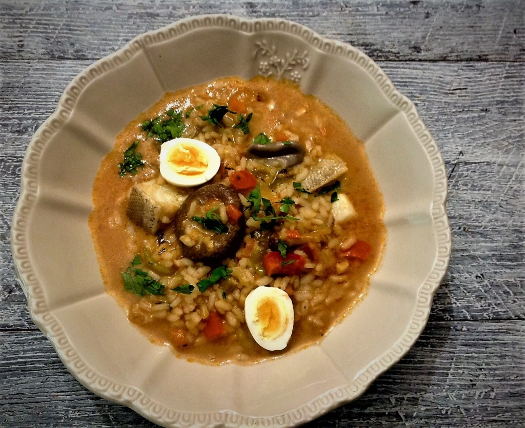 arroz bacalao setas huevos