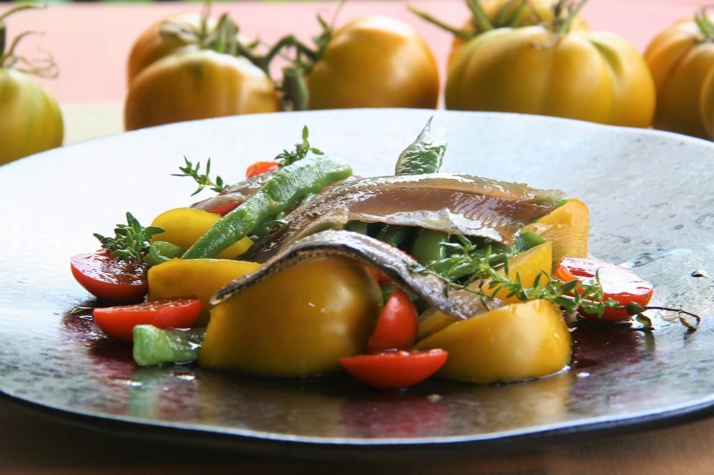 boquerones tomates judías