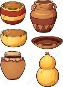 39037285-cerámica-prehistórica-y-recipientes-de-calabaza-secas-vector-de-imágenes-prediseñadas-ilustración-con-gradientes-