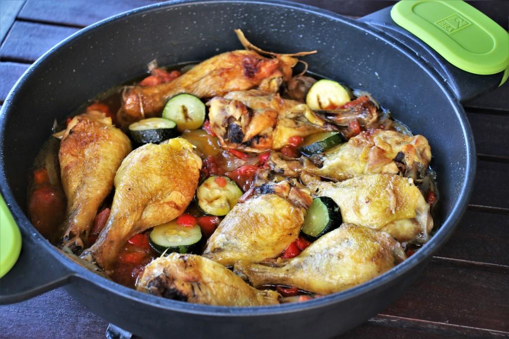 jamoncitos de pollo con verduras de confinameiento